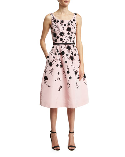 Sleeveless Floral Fit-&-Flare Midi Dress, Peony/Black