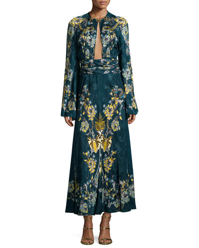 Keyhole Bell-Sleeve Midi Gown, Blue