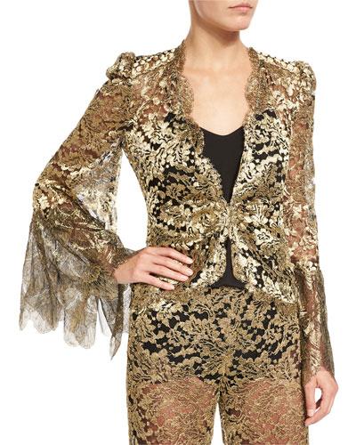 Metallic Lace V-Neck Jacket, Gold