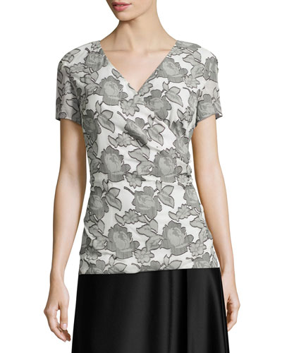 Metallic Blossom Faux-Wrap Blouse, Bianco/Caviar