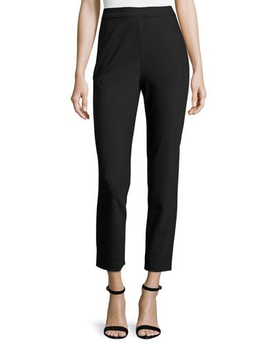 Alexa Scuba Slim Cropped Pants, Caviar