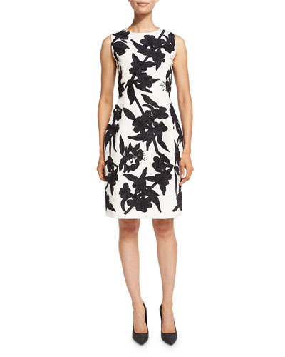 Beaded Faille Sheath Dress, White/Navy