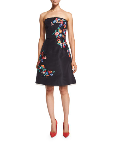 Strapless Threadwork-Embroidered Cocktail Dress, Dark Navy/Multi