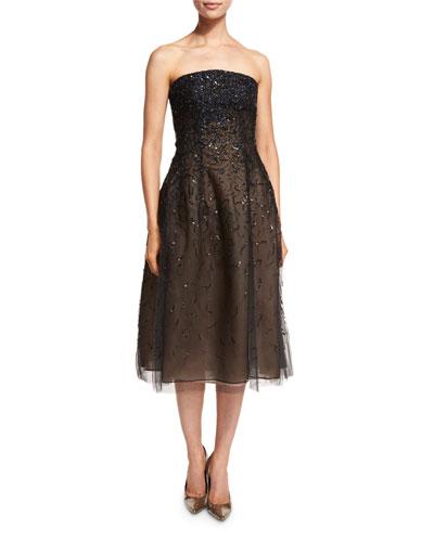 Strapless Degrade-Sequin Midi Dress, Navy