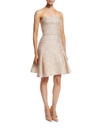 Strapless Fit-&-Flare Cocktail Dress, Light Pink/Gold