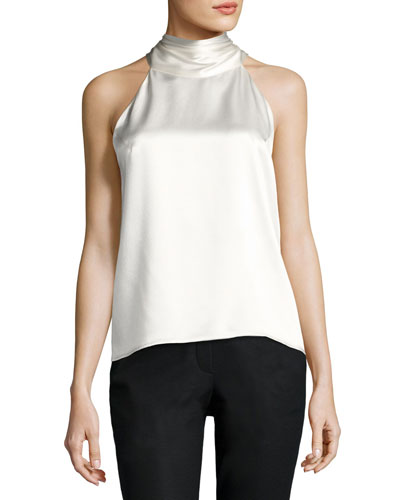 Satin Sleeveless Tie-Neck Blouse, Ivory