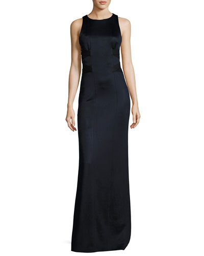Sleeveless Cutout-Side Jersey Gown, Black