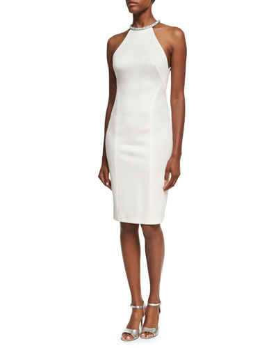 Embellished-Collar Sleeveless Sheath Dress, Ivory