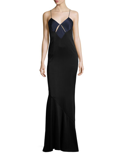 Sleeveless Cutout-Front Satin Slip Gown, Midnight/Black