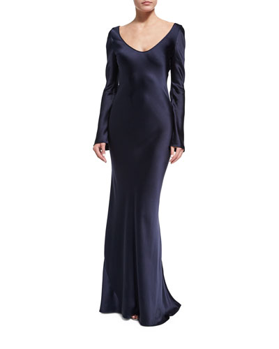 Long-Sleeve Satin Slip Gown, Midnight