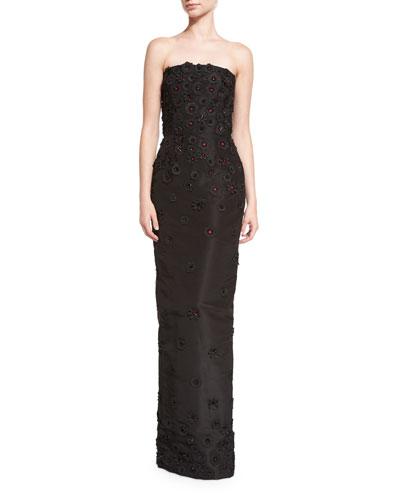 Strapless Faille Column Gown w/3D Floral Appliques, Black/Cerise