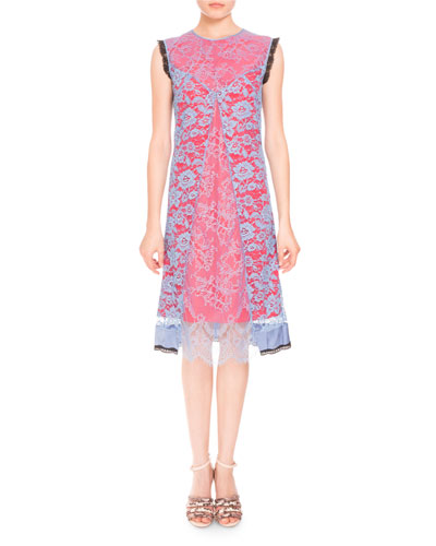 Harry Sleeveless Lace Dress, Provence Blue/Red
