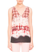 Bleached Plaid Sleeveless V-Neck Blouse, Scarlet