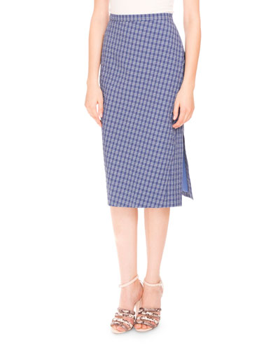 Tubino Seersucker Pencil Skirt, Provence Blue
