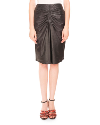 Leather Braid-Front Pencil Skirt, Black