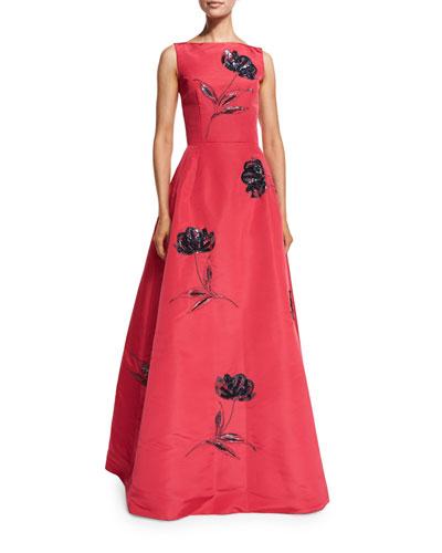 Bateau-Neck Floral-Sequin Gown, Pink/Navy