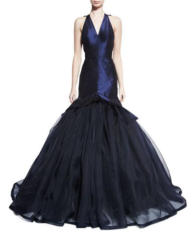 Sleeveless V-Neck Mermaid Gown, Navy