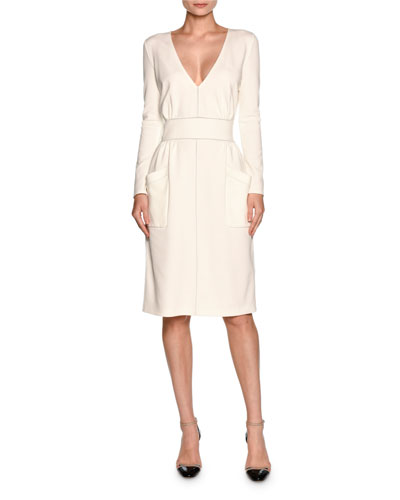 Long-Sleeve V-Neck Large-Pocket Dress, White