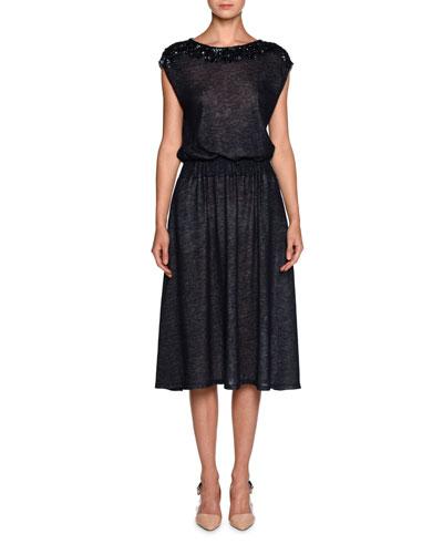 Sequined-Yoke Cap-Sleeve Dress, Blue