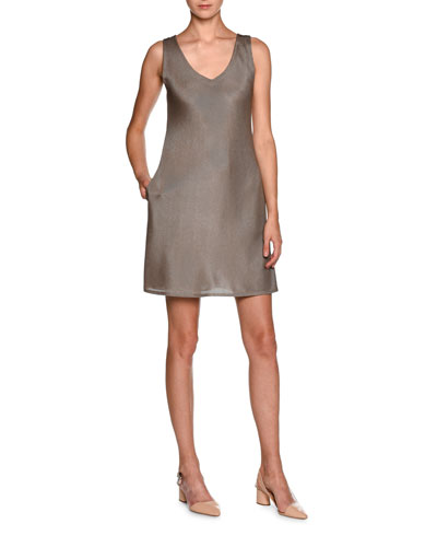 Sleeveless Laminated Jersey V-Neck Dress, Nut