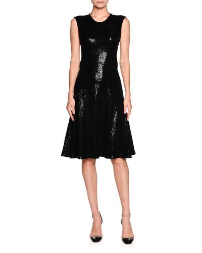 Sequined Sleeveless Cocktail Dress, Black