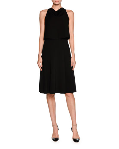 Sleeveless Draped Cocktail Dress, Black