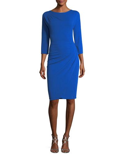 3/4-Sleeve Ruched Jersey Sheath Dress