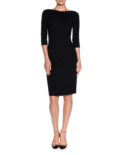 Ruched Half-Sleeve Sheath Dress, Black