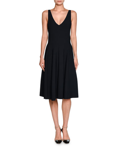 Sleeveless V-Neck Seamed Dress, Navy