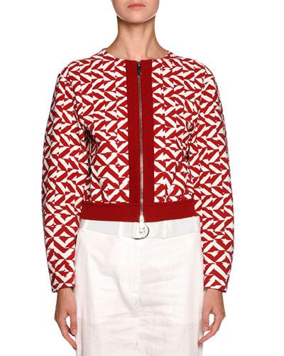 Geometric-Print Zip Bomber Jacket, Red