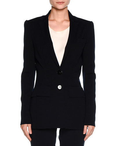 Suede-Back Two-Button Blazer, Navy