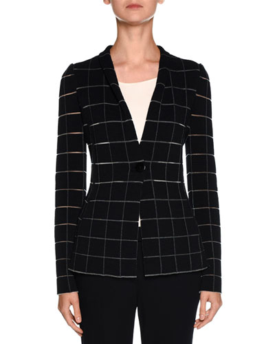 Sheer-Cutout One-Button Blazer, Navy