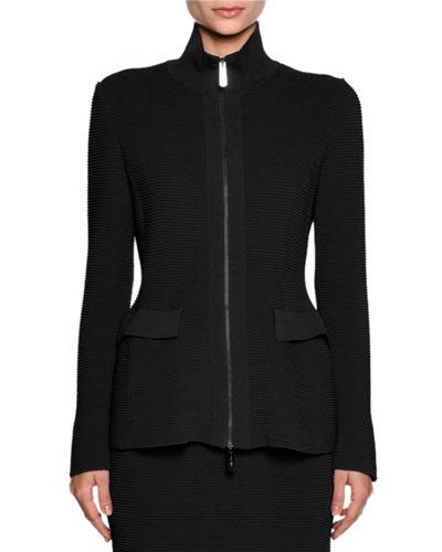 Ottoman Knit Flap-Pocket Zip Jacket, Black