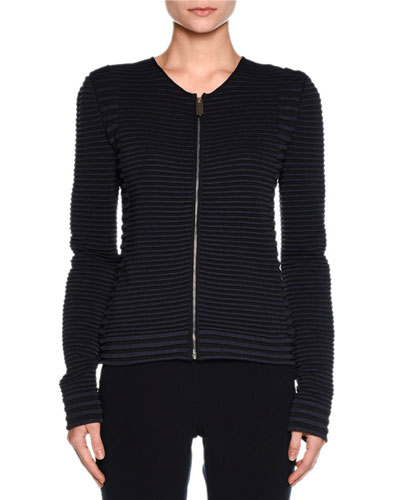 Ottoman Knit Zip Short Jacket, Navy