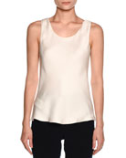 Silk Charmeuse Scoop-Neck Shell, Ivory