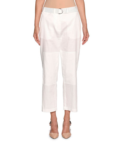 Belted Cropped Utility Pants, White