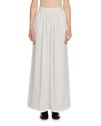 Georgette Wide-Leg Pants, Light Gray