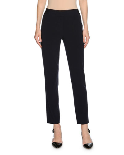 Stretch Wool-Blend Ankle Pants, Navy