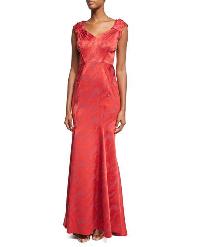 Cap-Sleeve V-Neck Mermaid Gown