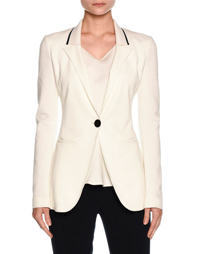 Knit-Collar One-Button Jacket, Off White