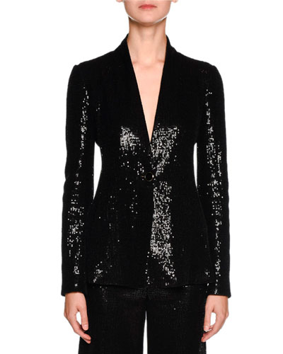 Sequined One-Button Tuxedo Jacket, Black