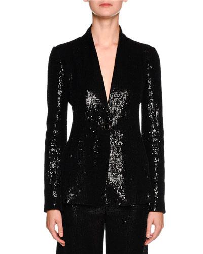 Sequined One-Button Tuxedo Jacket, Black