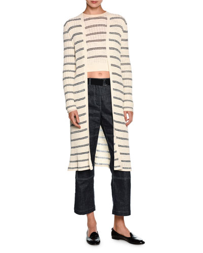 Striped Long Open Cardigan, Off White