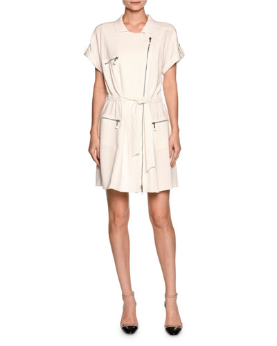 Short-Sleeve Zip-Trim Shirtdress, White