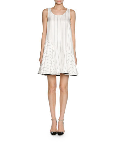 Pinstripe Jacquard Sleeveless Flare Dress, White/Black