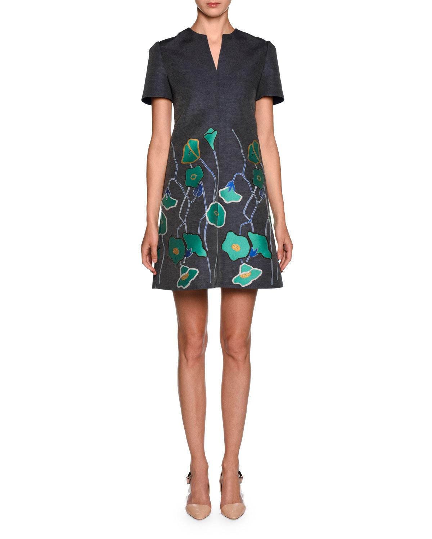 Short-Sleeve Floral Denim Dress, Blue/Green