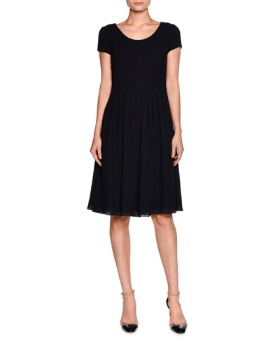 Short-Sleeve Pleated A-Line Dress, Navy