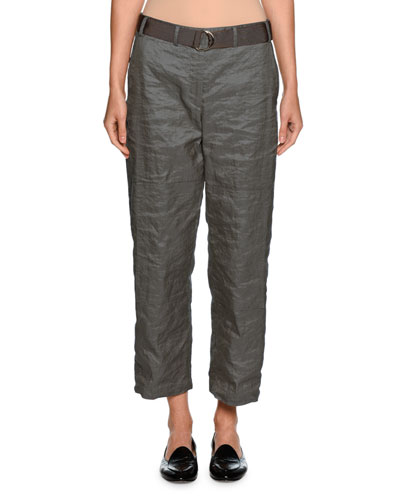 Belted Metallic Cropped Utility Pants, Gray