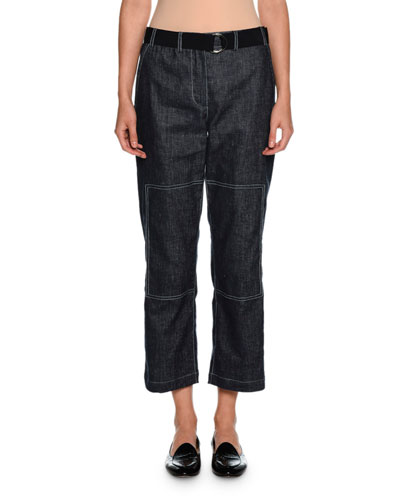Belted Denim Cropped Utility Pants, Indigo Blue