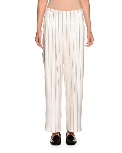 Pleated Pinstripe Wide-Leg Pants, White/Black
